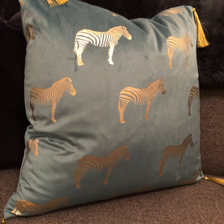 Zebra luxe cushion with gold tassels