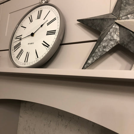 Grey and Silver Fob Watch Wall Clock