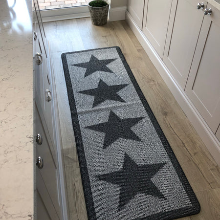 Long charcoal star runner rug mat 67cm by 200cm