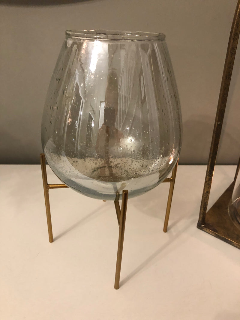 Gold stand candle holder vase with bubble glass