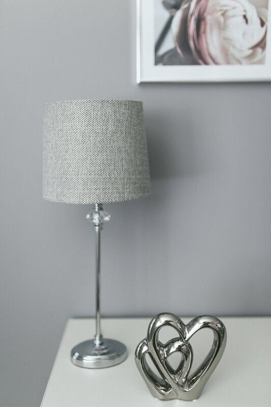Grey embossed ceramic table lamp