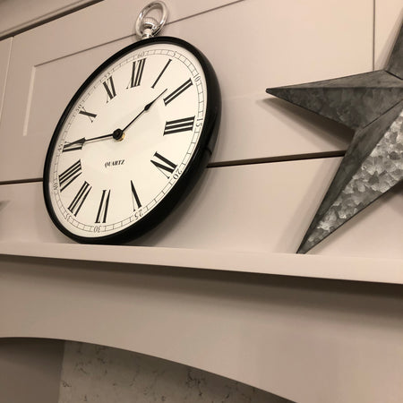Black and Silver Fob Watch Wall Clock