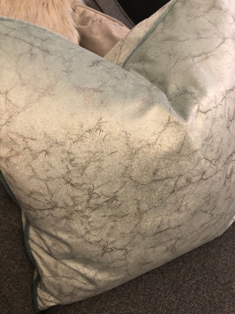 Crackle marble finish mint green cushion 45cm
