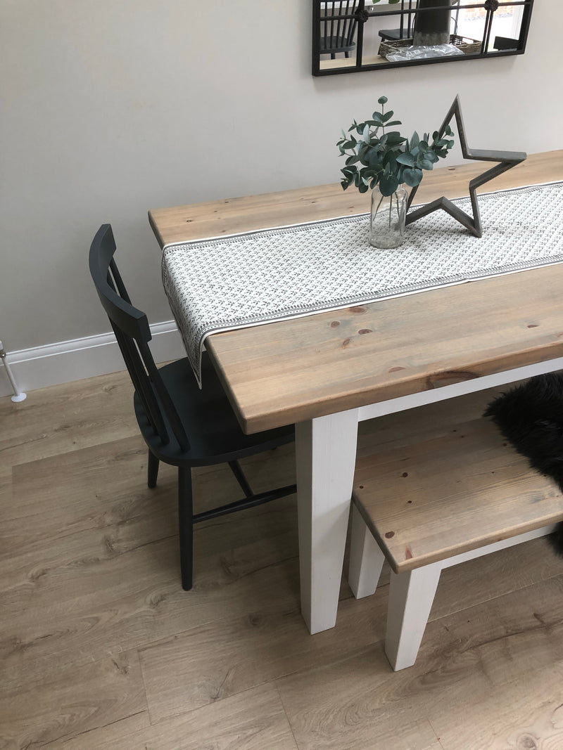 Store seconds Grey and off white flock table runner