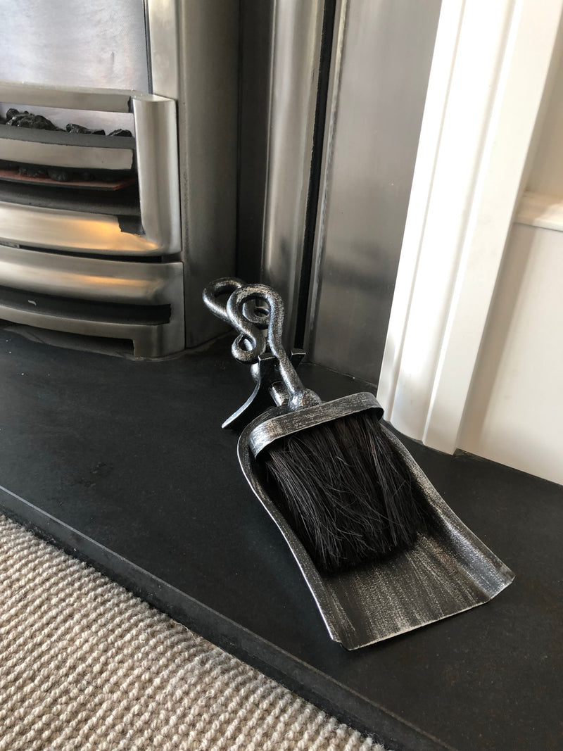 Pewter hearth tidy brush set