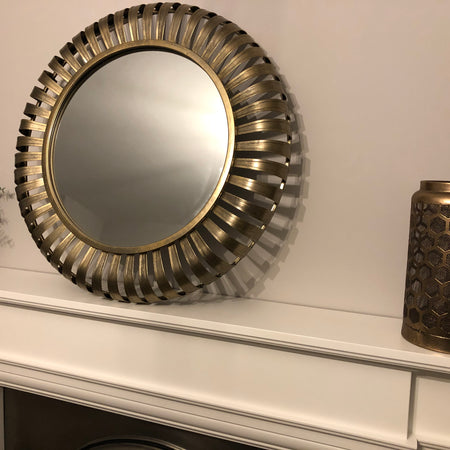 Large chunky round 3D mirror 72cm