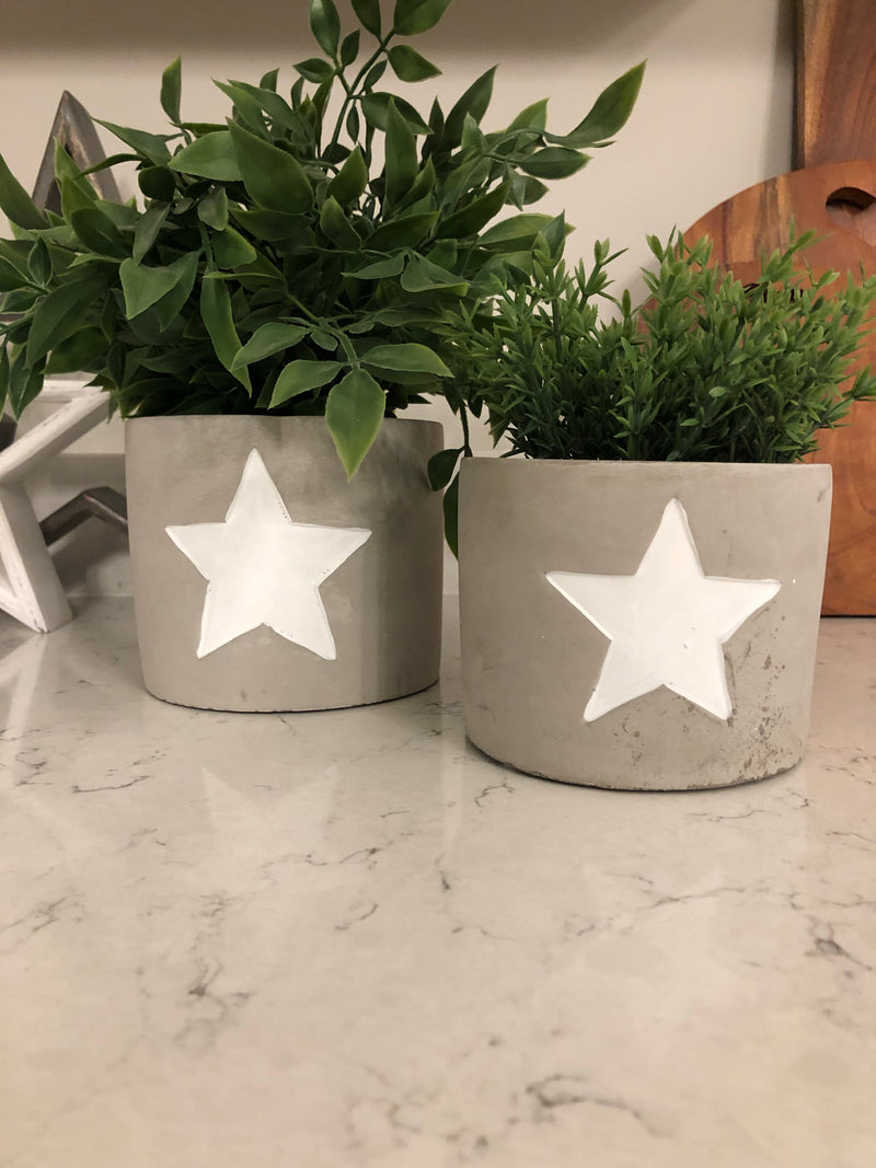 Large white star cement planter