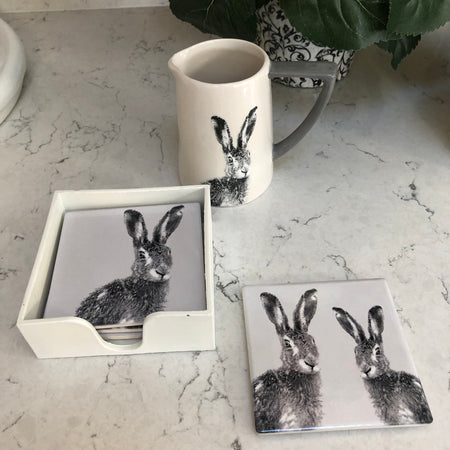 Set of four ceramic coasters with hare print