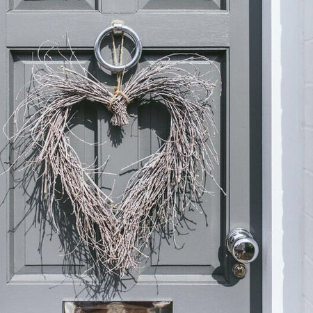 Greywash wicker heart wreath 50cm