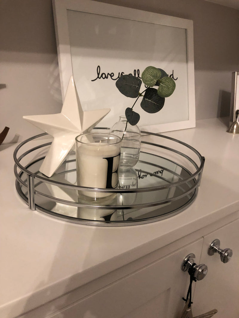 Chrome round mirrored tray