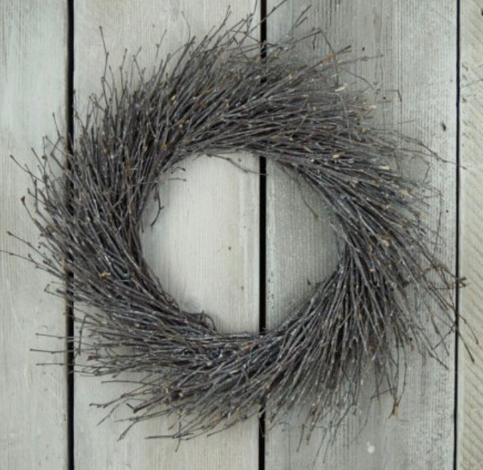 Twig round wreath grey wash finish