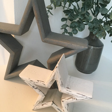 Set of two grey and white stars