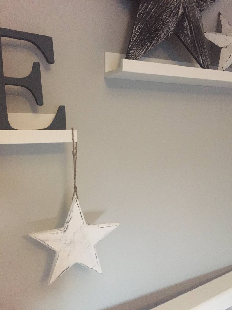 Small solid white hanging star