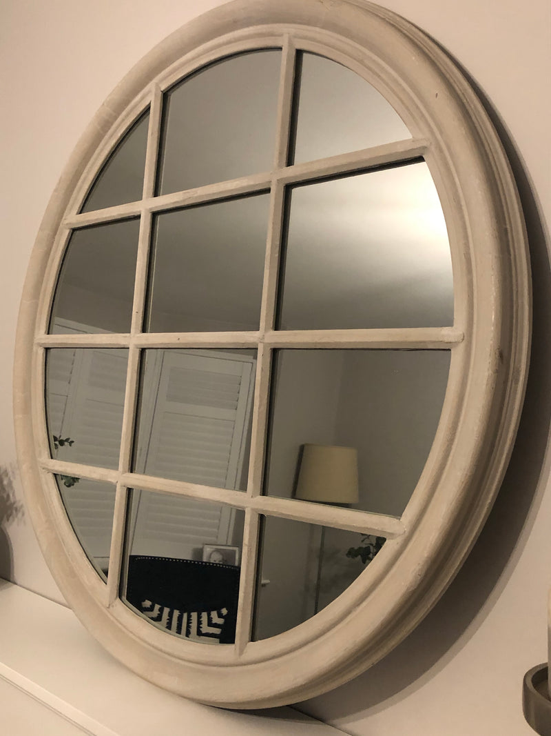 Large round soft grey distressed window mirror 90cm