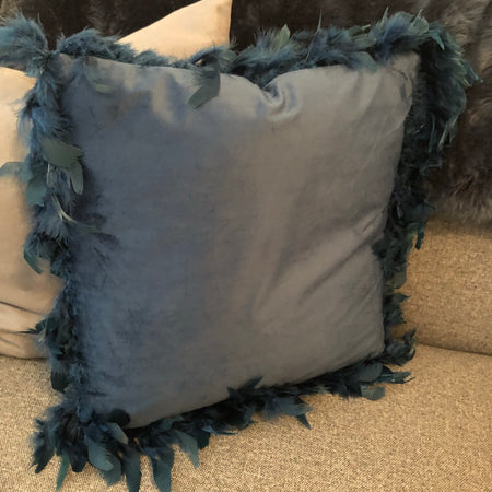 Petrol Blue Feather edged cushion