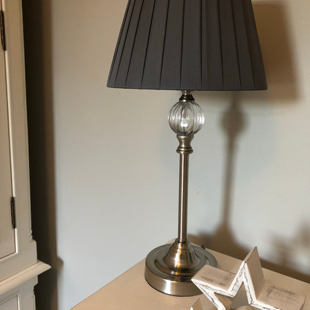 Brushed Silver and glass table lamp with pleated shade