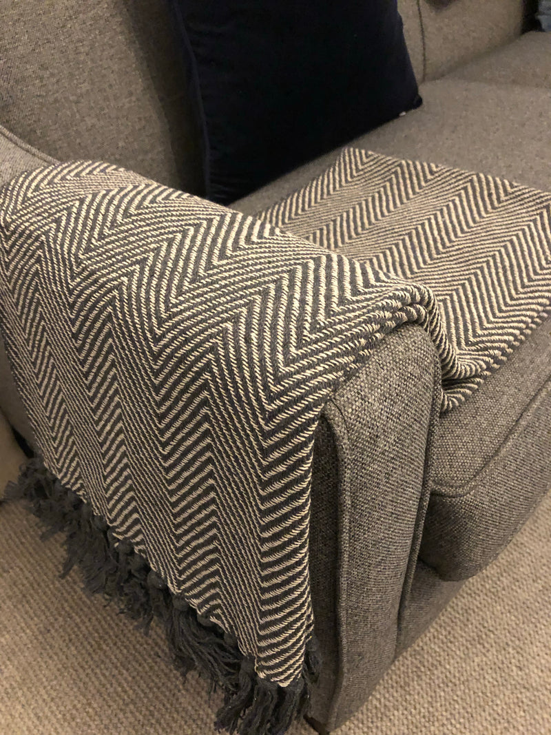 Large Grey Multi Stripe Cushion