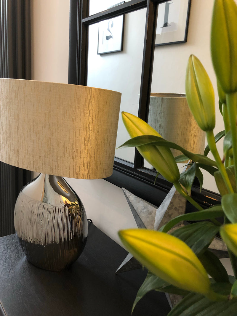 Pair of gold hammered metal table lamp bases