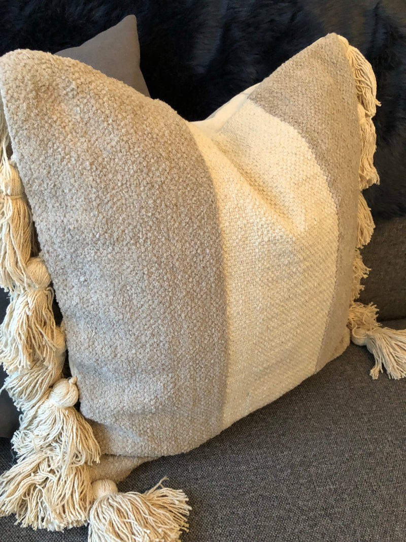 Natural grey taupe stripe cushion with tassels