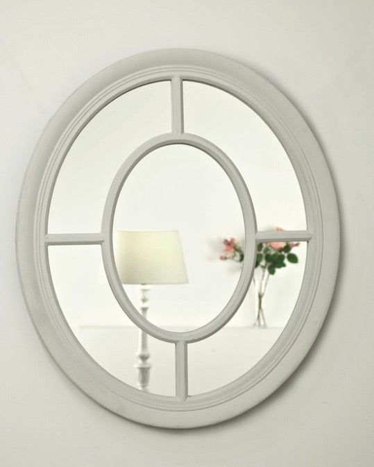 Off white oval window mirror 70x60