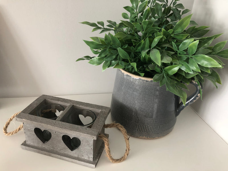 Wooden double heart candle holder