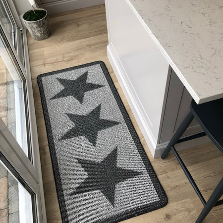 Charcoal grey star runner rug 150cm by 67cm