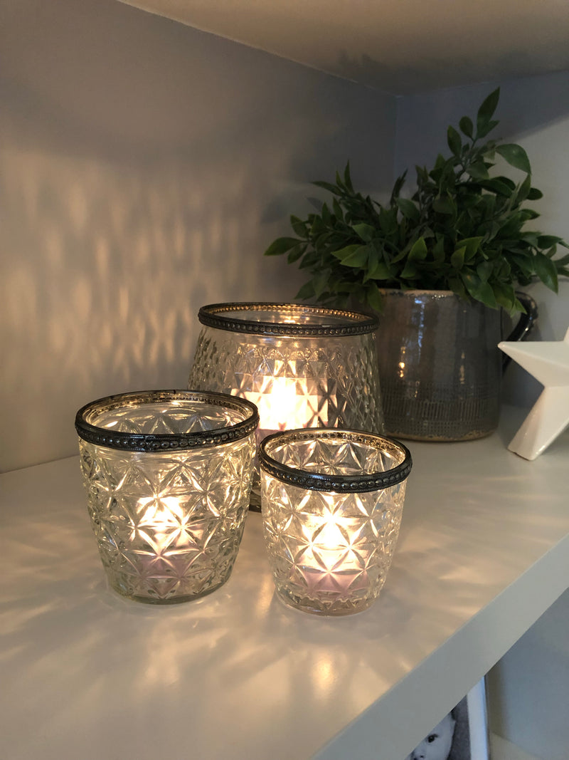 Metallic hammered lantern
