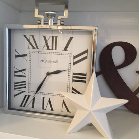 Square silver chrome clock