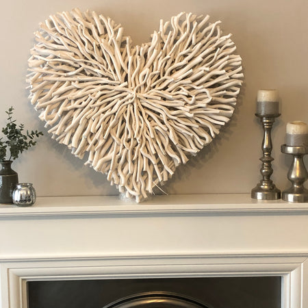 Huge white twig heart