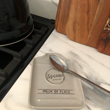 Grey ceramic spoon rest