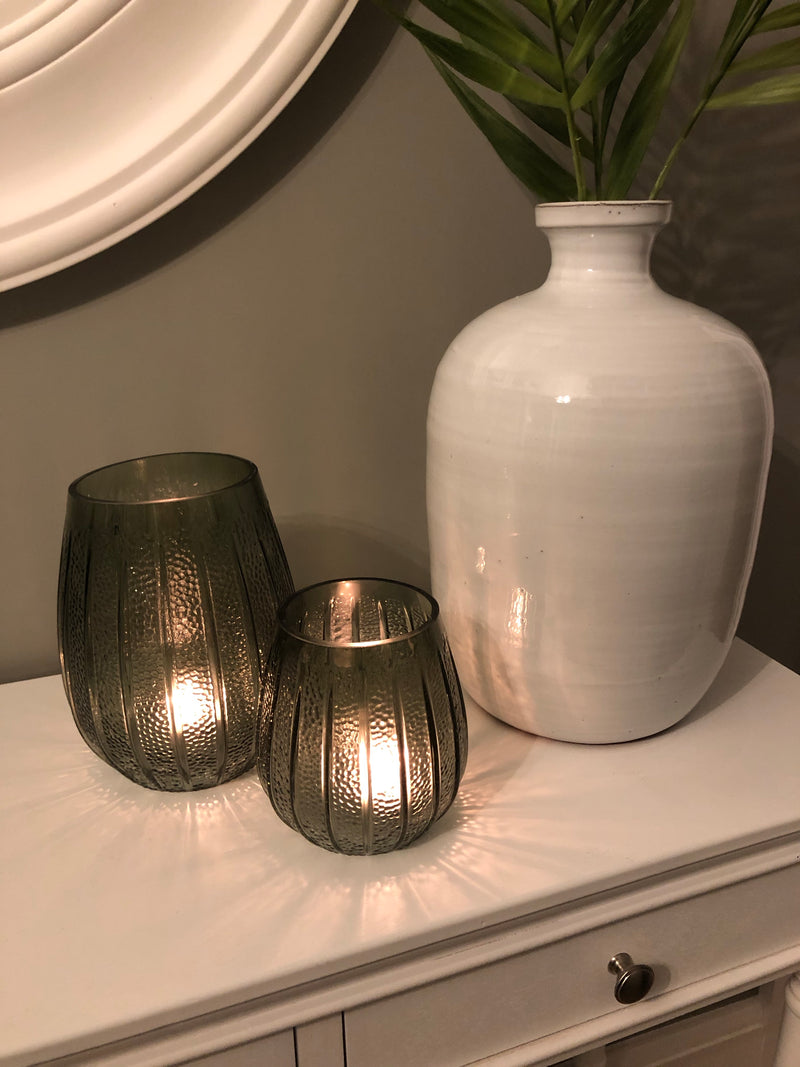 Medium bottle green ribbed candle holder