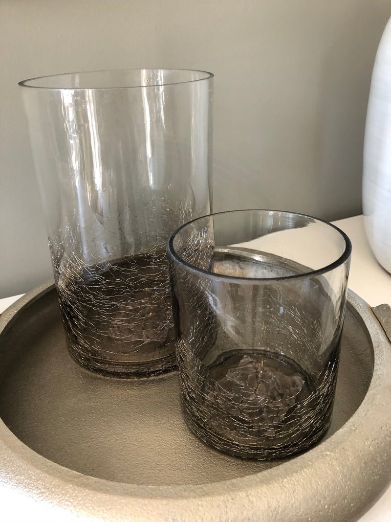 Set of two smoked crackle effect grey candle holders