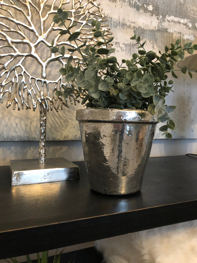 Silver chunky rimmed plant pot
