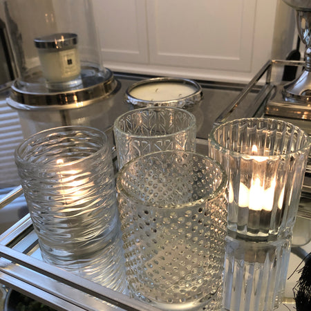 Assorted glass embossed candle holders