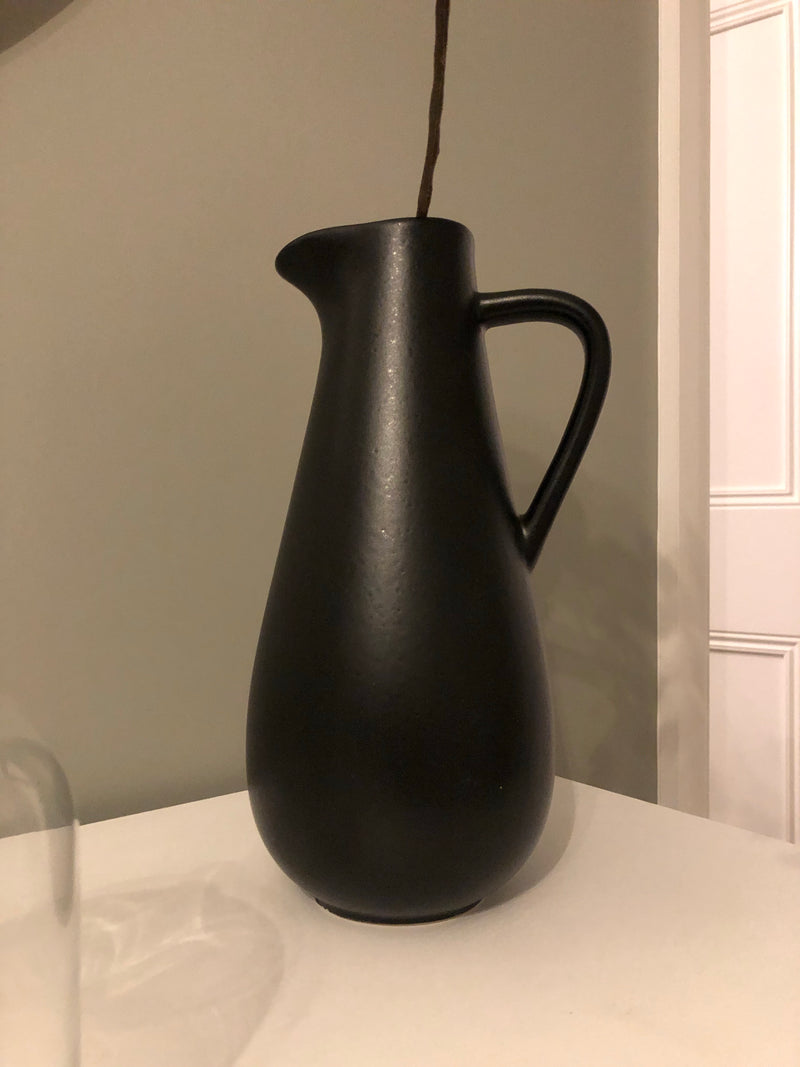 Black ceramic pitcher jug 28cm
