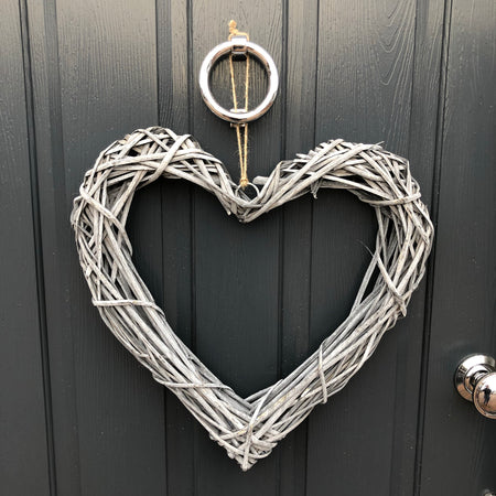 Grey wash rattan heart 50cm