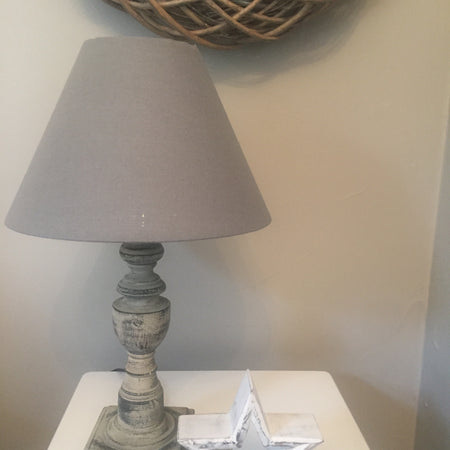 Grey wood base lamp