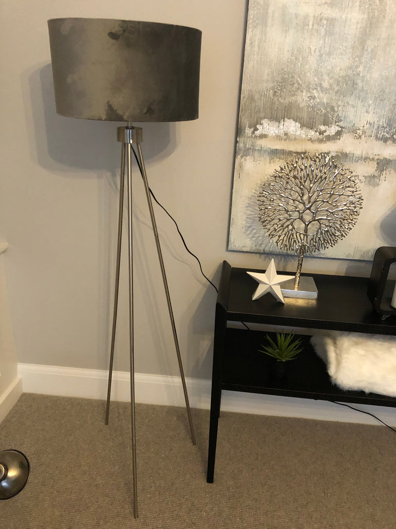 Brushed silver tripod floor lamp