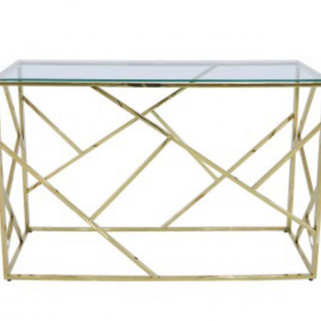 Azaria gold metal and glass console table