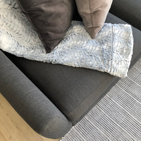 Silver Faux Fur Throw