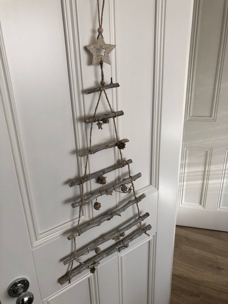 Hanging twig Christmas tree ladder