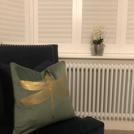 Luxury Green cushion with gold dragonfly