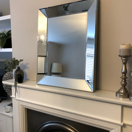 Simple chunky boxy Venetian mirror with silver frame