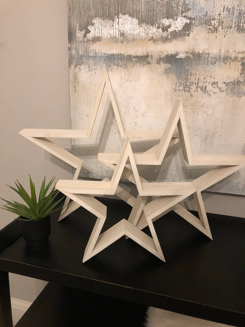 Small white wooden star