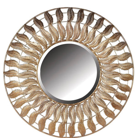Gold feather round chunky mirror 70cm