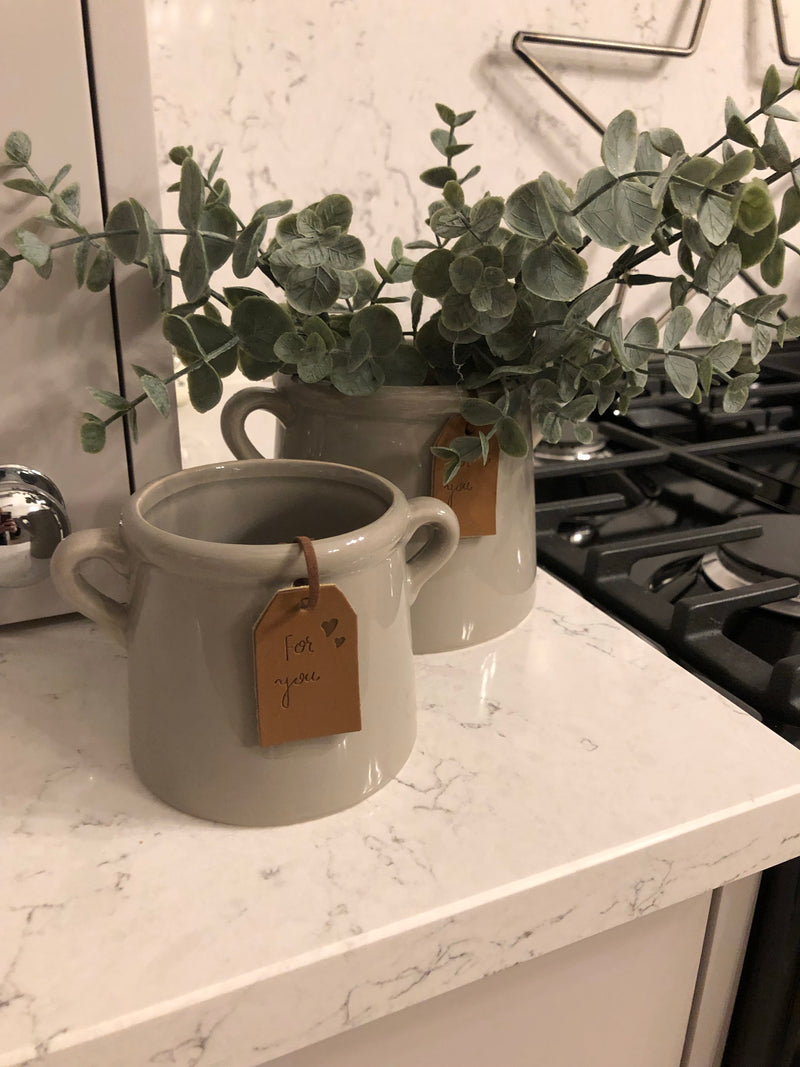 Small Grey Double Handled Pot planter