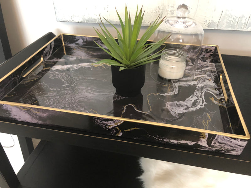 Large black and gold marble tray