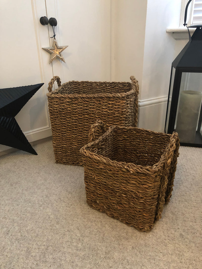 Large round stripe basket