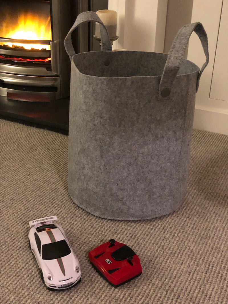 Small grey felt bag basket