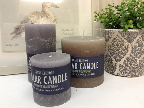 Grey pillar candle 13cm